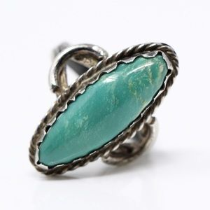 NAVAJO Sterling Silver Green Turquoise Ring 6.5